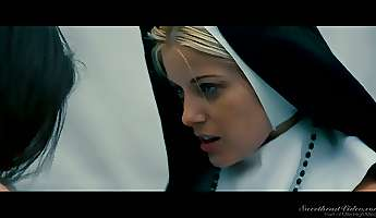 Sinful babe Charlotte Stokely is making love with sexappeal nun