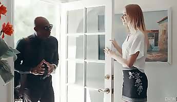 Bald neighbor is lured by really naughty vivid white chick Haley Reed