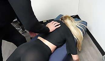 VTL Chick in See through leggings thong at chiropractor