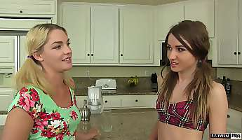 Lesbian kitchen fuck for Ally Brooks and Shiloh Sharada
