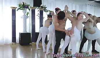 Teen ballet dancer riding