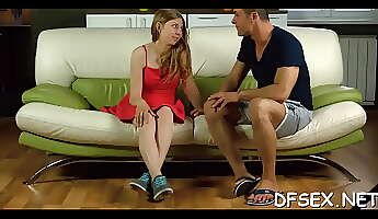 Appealing young Galina Fox is licking love stick